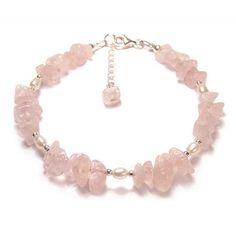 61a690177e84 Rose Quartz Pearl gemstone Sterling silver bracelet - pink gemstone chips