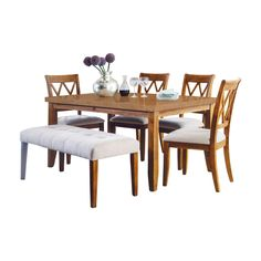 If you're looking to mix up your dining arrangement, choose the Oakland Living Bernard 6 Piece Dining Table Set , featuring four dining chairs. Dining Set With Bench, Dining Bench, 4 Dining Chairs, Dining Room, Lattice Design, Table Height, Table Dimensions, Upholstered Chairs, Engineered Wood