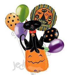7 pc Black Cat & Pumpkins Balloon Bouquet Party Decoration Happy Halloween