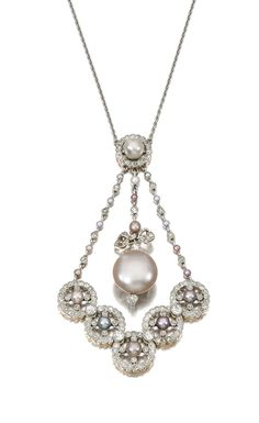 Natural pearl and diamond pendant necklace, early 20th century. Set with variously coloured natural pearls, millegrain set with circular- and single-cut diamonds.