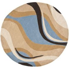 Safavieh Modern Art Blue/Brown Rug Rug Size: Round 7'