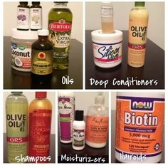 Products for a simple relaxed hair regimen.