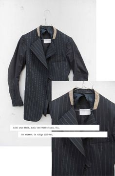Maison Martin Margiela jacket without collar and inside out arms. Released circa 2000.