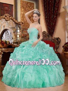 Elegant Sweetheart Neck Apple Green Balll Gown Beading Ruffles Quinceanera Dress - Quinceanera 100