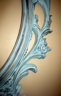 IKEA hack with rubbed blue paint effect! I have that frame in black plastic - it could become this pretty?