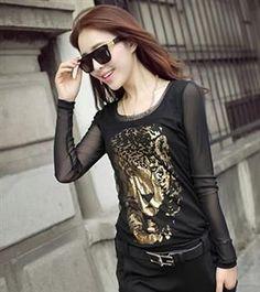 Autumn Fashion Long Sleeve Leopard Slim Lace Shirt
