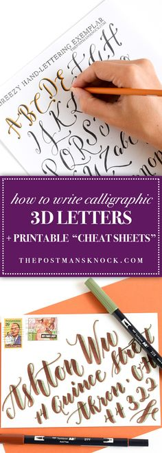 """How to Write Calligraphic 3D Letters + Printable """"Cheat Sheets"""""""