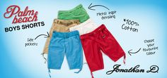 Jonathan D Palm Beach Boys Shorts Made for the future Jonathan D man, these Palm Beach boys shorts sport an adjustable D-ring belt, draw cord at the hem, back flap pockets and plenty of summertime styling with 5 fetching colourways.