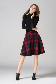 Color-block Plaid Flare Skirt | victoriaswing