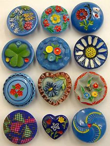 12-Vintage-Painted-Blue-Glass-Buttons
