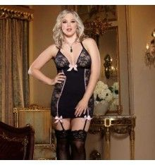 Plus Size Lace Halter Garter Slip with Pink Bows, Plus Size Lace and Microfiber Garter Slip, Plus Size Sheer and Opaque Chemise Full Figure Lingerie, Plus Size Lingerie, Sexy Lingerie, Gorgeous Lingerie, Black Pink, Pure Romance, Lace Slip, Stretch Lace, Clubwear