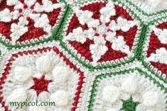 @ MyPicot - Free Christmas hexagon crochet patterns, divine