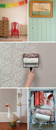 The painted house - stamped scrolls for painting your home. Stencil Painting On Walls, House Painting, Wall Design, House Design, Wall Decor, Room Decor, Living Room Inspiration, Interior Paint, Interior Design