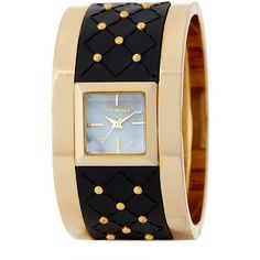 Steve Madden Women's Studded Leather Cuff Watch ($46) ❤ liked on Polyvore featuring jewelry, watches, gold, grey watches, steve madden watches, stainless steel wrist watch, magnet jewelry and stainless steel watches