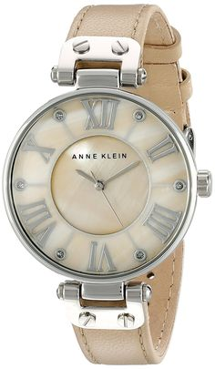 Anne Klein Women's 10/9919TMTN Silver-Tone Watch with Tan Leather Band *** Check out this great watch.