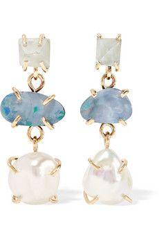 14-karat gold, aqua and pearl earrings