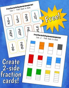 The free Fraction Predict and Compare activity includes these color-coded fraction cards that have a fraction on one side and the fraction bar on the other.