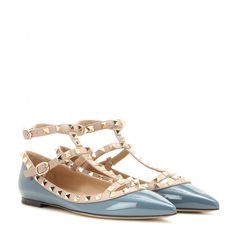 Valentino - Rockstud leather ballerinas - Flats can be sexy too, and we love Valentino's new studded style. The pointed toe and double-buckled design add an element of feminine flair to the blue patent leather. Style these with cropped trousers as a cool alternative to heels. seen @ www.mytheresa.com