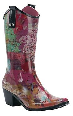 Bops by beehive women's multi color rubber rain snow cowboy ...