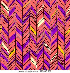 Hand drawn chevron pattern. Seamless fabric colorful background.