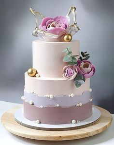 Dessert Decoration, Floral Cake, Bunch Of Flowers, Beautiful Cakes, Cake Decorating, Wedding Cakes, Peach, Sweets, Baking
