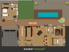 Playing around with Autodesk Homestyler to design a dream house for my parents, complete with guest house for visitors, such as myself.