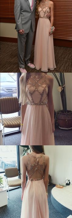 fashion pink chiffon prom dress,  elegant party dress with beading