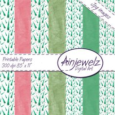 SALE Instant Download Simply Green Trees 7 x by Ainjewelz on Etsy