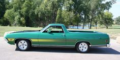 1971 Ranchero GT w/ laser stripe (gloes at night) , grabber green - ladies hot rod truck