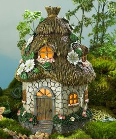 This Miniature Fairy Garden Floral Solar Fairy Cottage is perfect! #zulilyfinds