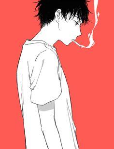 Smoking, cool, pink, soft, art, boy, and smoke image
