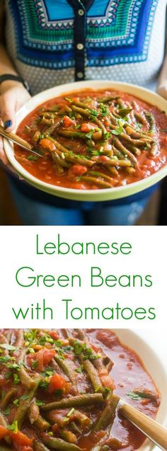A classic vegetarian Lebanese side dish recipe, green beans are slowly simmered in tomatoes and warm spices including cinnamon and allspice.