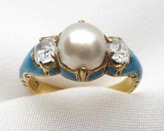Victorian Pearl Diamond Enamel Ring