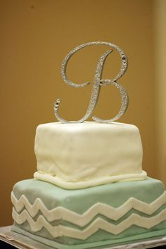 Silver Dazzling Sparkle Monogram Cake Topper by LLBridalDesigns