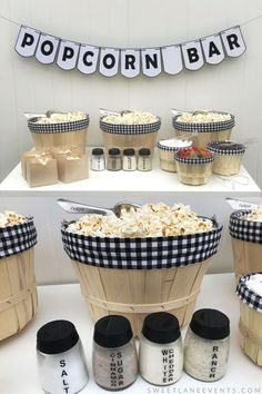 Celebrate your wedding with a casual fun black and white plaid popcorn bar.  Guests can make their own popcorn treat with candy or powdered flavors.  #weddingshower #foodideas SweetLaneEvents.com