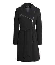 Fitted black coat with asymmetric zip, pockets, and tie belt. | Warm in H&M