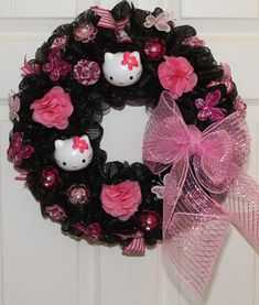Hello Kitty Inspired Deco Mesh Wreath by WreathsByJeanZ on Etsy