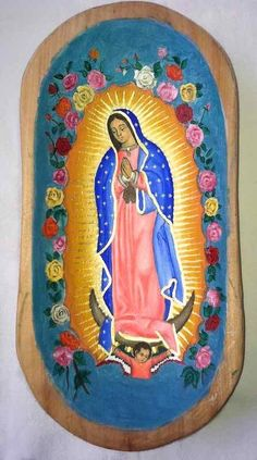 Dos Mujeres Mexican Folk Art - Painted Wood Batea With Virgin of Guadalupe
