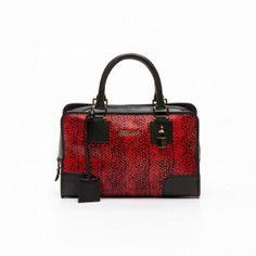 Bolso de mano cuero Rojo y negro 10 x 6 x 3 cm