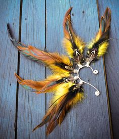So Bright  Feather ear cuff gypsy jewelry fae wire by BurnApparel, $38.00