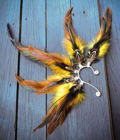 So Bright - Feather ear cuff gypsy jewelry fae wire wrap festival wear