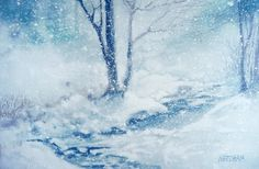 WINTER WONDERLAND, snowscape watercolor by Thomas A Needham