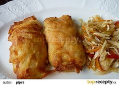 Plněný šunkový závitek zapečený v bramborových plátcích recept - TopRecepty.cz Bon Appetit, French Toast, Recipies, Food And Drink, Potatoes, Chicken, Meat, Breakfast, Ds