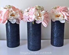 New Wedding Table Navy Vases Ideas Wedding Cake Table Decorations, Bridal Shower Centerpieces, Birthday Party Decorations, Wedding Centerpieces, Wedding Table, Diy Wedding, Decor Wedding, Table Centerpieces, Blue Wedding