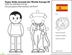 Spain Worksheets: Paper Dolls Around the World: Europe IX