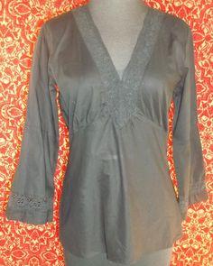 NEW YORK & COMPANY black cotton long sleeve bohemian blouse S (T10-0DG5G) #NewYorkCompany #Blouse #Casual