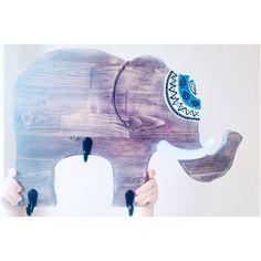 Elephant tribal wooden hook decor