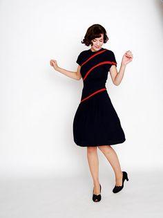 Navy and Orange vintage 1940s dress. So chic!