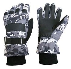 Buy Kids Cold Weather Waterproof Camo Print Thinsulate Ski Gloves - Black/Grey Digital Camo - and Shop the latest styles of Affordable Men's Cold Weather Gloves. Best Winter Gloves, Best Gloves, Mitten Gloves, Mittens, Waterproof Gloves, Snow Wear, Best Caps, Cold Weather Gloves, Boys Accessories