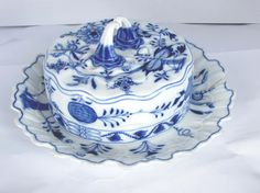 Antique Meissen Blue Onion Round Domed Butter Dish by westonperry, $39.98